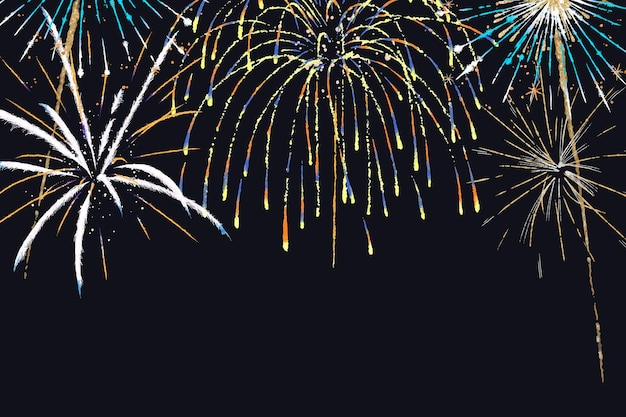 Colorful fireworks background vector in celebration theme