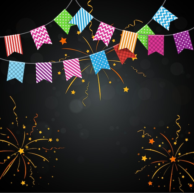 Colorful fireworks background with bunting flags