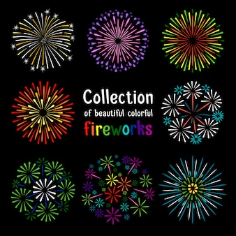Colorful fireworks collection on black background