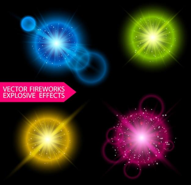 Красочные взрывы фейерверков с блестками и вспышками