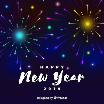 Colorful fireworks new year background