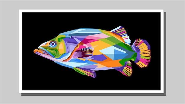 인쇄할 준비가 된 팝 아트 스타일 벡터 일러스트레이션의 다채로운 물고기