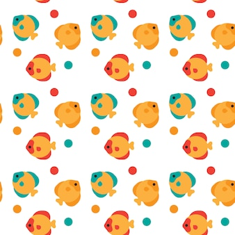 Colorful fish seamless pattern abstract ornament
