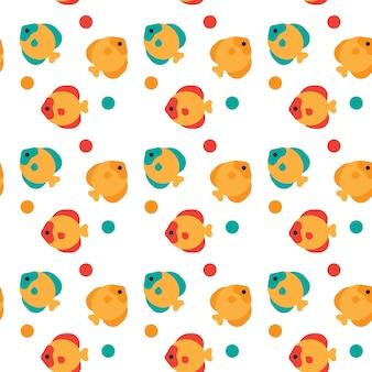 Разноцветные рыбы бесшовные абстрактный орнамент