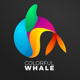 Красочная рыба кит логотип градиент