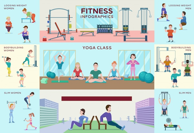 Colorful fitness infographic horizontal banners