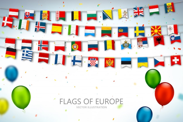Colorful flags countries of europe