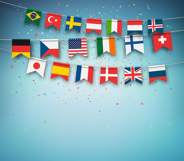 Colorful flags of different countries of the world with confetti on blue background