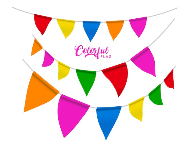 Colorful flags elements , rainbow color flags for party or carnival uses