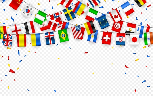 Colorful flags garland of different countries of the europe and world with confetti. festive garlands of the international pennant. bunting wreaths.  banner for celebration party, conference.