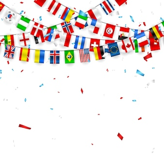 Colorful flags garland of different countries of the europe and world with confetti.
