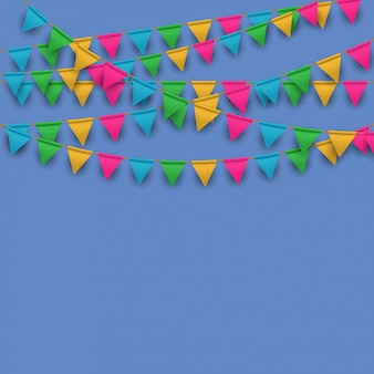 Colorful flags garlands