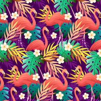 Colorful flamingo pattern