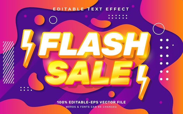 Красочный текстовый эффект флэш-продажи