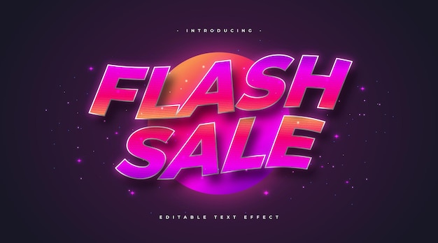 Colorful flash sale text in retro style and wavy effect. editable text style effect