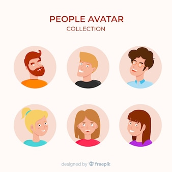 Colorful flat avatar collection