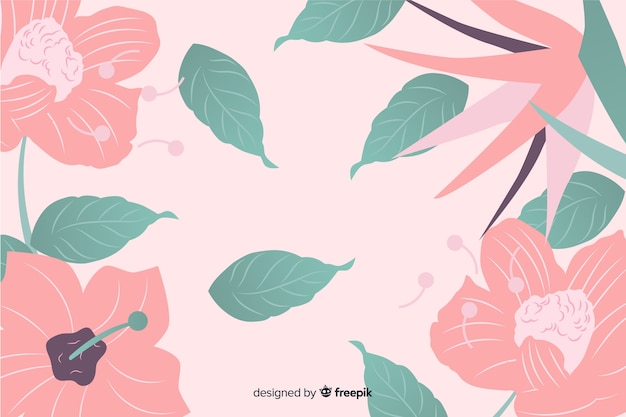 Colorful flat background with flowers