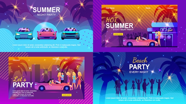 Colorful flat banners set inviting to summer adventure