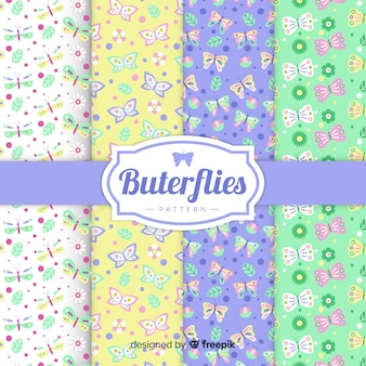 Colorful flat butterfly pattern pack