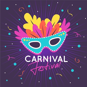 Colorful flat carnival mask illustration
