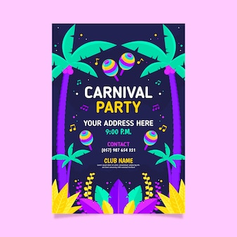 Colorful flat carnival party flyer