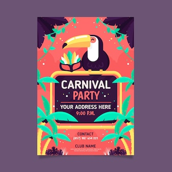 Colorful flat carnival party poster