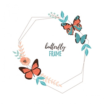 Colorful flat cartoon vector butterfly, flower and leaves frame isolated