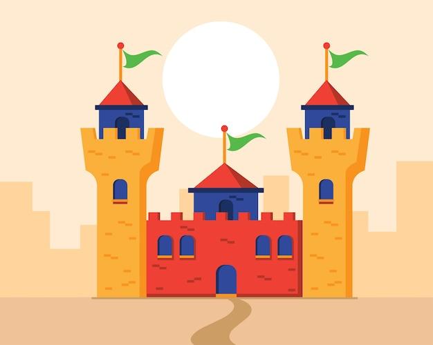 Красочный плоский замок