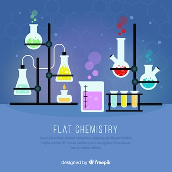 Colorful flat chemistry background