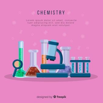 Красочный плоский фон химии