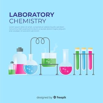 화려한 플랫 화학 배경