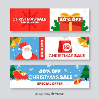 Colorful flat christmas sale banner