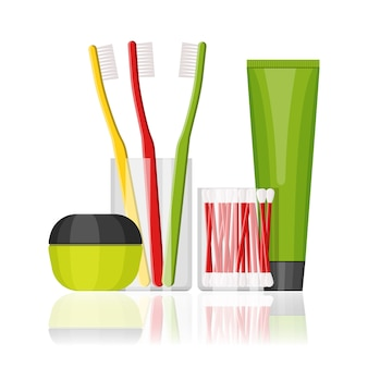 Colorful flat cosmetic and dental set