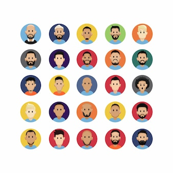 Colorful flat cute face avatar character
