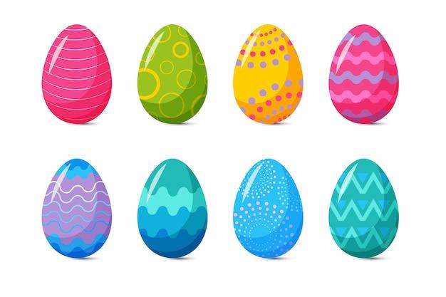 Коллекция красочных плоских декоративных пасхальных яиц