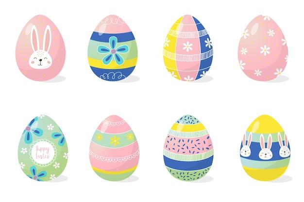 Collezione di uova di pasqua decorative piatte colorate