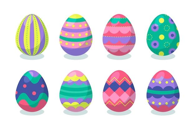 화려한 플랫 장식 부활절 달걀 컬렉션