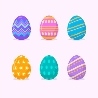 Colorful flat decorative easter eggs collection