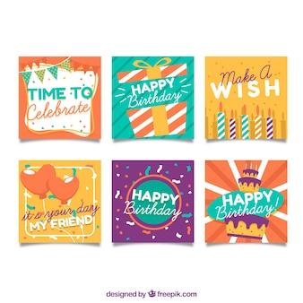 カラフルなフラットデザインの誕生日カード