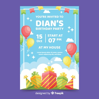 Colorful flat design birthday invitation template