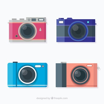 Colorful flat design camera collection