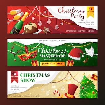 Красочный плоский дизайн рождественской вечеринки и маскарада приглашения баннеры