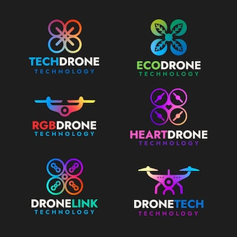 Colorful flat design drone logo collection