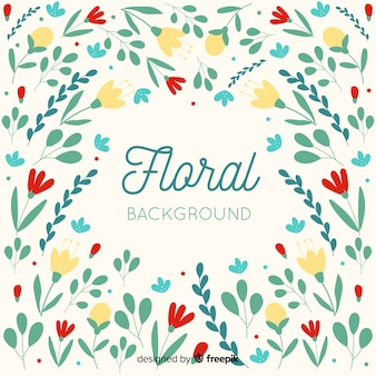 Colorful flat design floral background