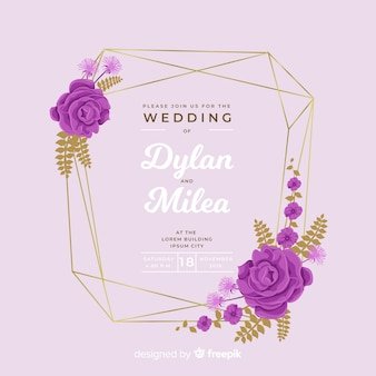 Colorful flat design of floral frame wedding invitation