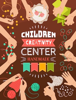 子供のための創造的な手作りスタジオのカラフルなフラットデザインポスター