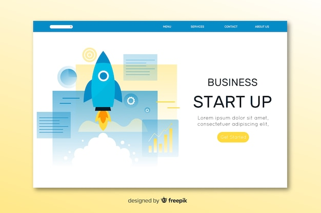 Colorful flat design start up landing page