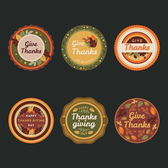 Colorful flat design for thanksgiving label