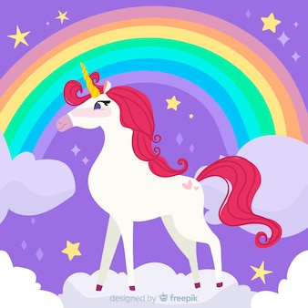 Colorful flat design unicorn background