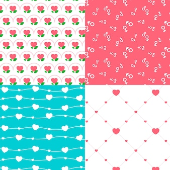 Colorful flat design valentines day pattern